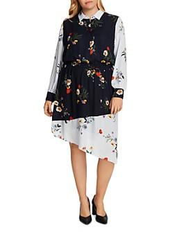 VINCE CAMUTO Plus - Floral-Print Asymmetric-Hem Dress