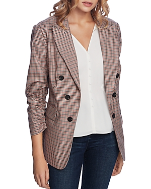 Image of 1.state Checked Ruched-Sleeve Blazer