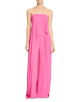 HALSTON - Strapless Skirted Jumpsuit