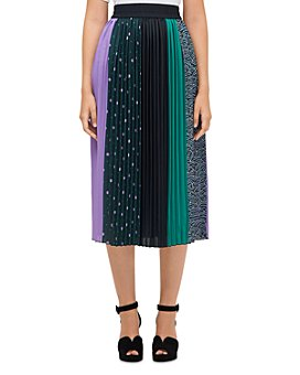 kate spade new york - Pop Dots Pleated Mixed-Print Midi Skirt