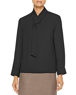 Misook - Sash-Detail Long Sleeve Blouse