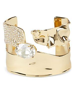 Alexis Bittar Crumpled Pave Crystal Detail Cuff Bracelet