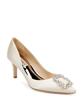 Badgley Mischka - Women's Carrie Crystal-Embellished Kitten Heel Pumps