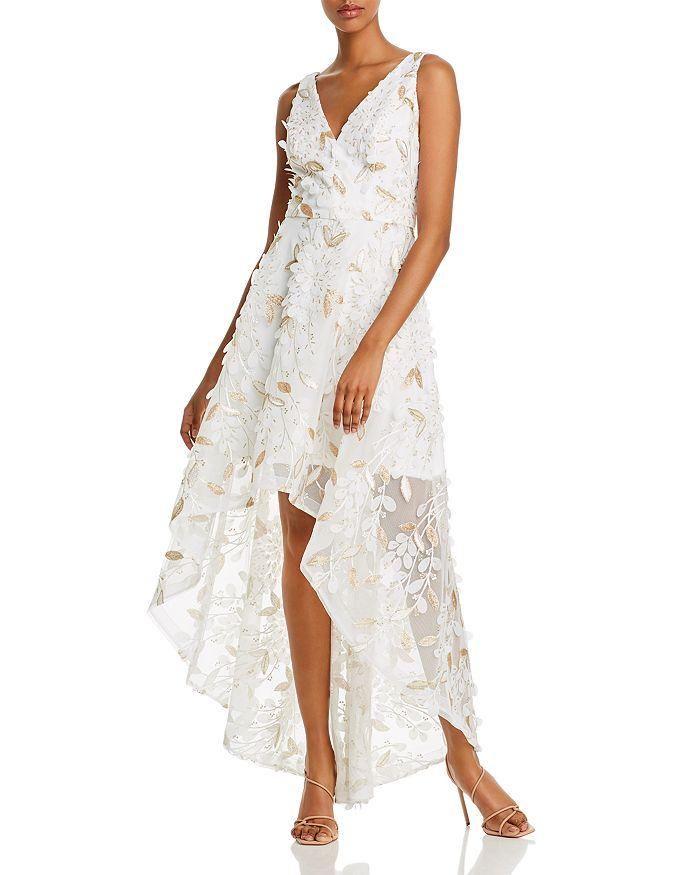 AQUA - Floral-Appliqué High-Low Gown - 100% Exclusive