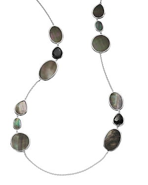 Ippolita Sterling Silver Ondine Hematite, Clear Quartz & Black Shell Station Necklace, 38