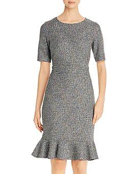 Leota - Gia Checked Knit Flounce-Hem Dress