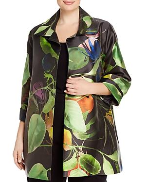 Caroline Rose Plus Botanical Print Jacket
