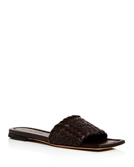 Bottega Veneta - Women's Woven Square-Toe Slide Sandals