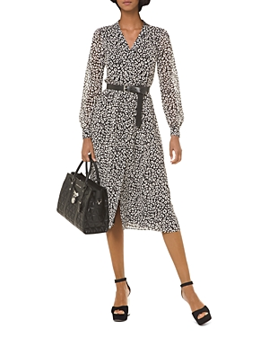 Michael Michael Kors Leopard Print Georgette Midi Dress-Women