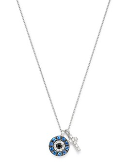 "Bloomingdale's - Diamond & Sapphire Evil Eye & Cross Charm Necklace in 14K White Gold, 17"" - 100% Exclusive"