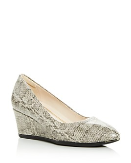 Cole Haan - Women's Grand Ambition Snake-Embossed Wedge Pumps