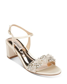 Badgley Mischka - Women's Clair Embellished Block Heel Sandals
