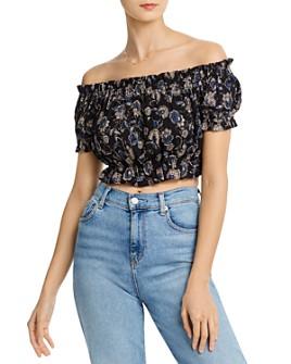 AQUA - Off-the-Shoulder Floral Cropped Top - 100% Exclusive