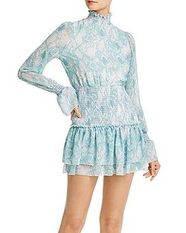 Sage the Label - Vittoria Smocked Snake Print Dress