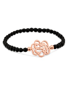 TOUS - 18K Rose Gold-Plated Sterling Silver Onyx Rubric Station Bead Bracelet