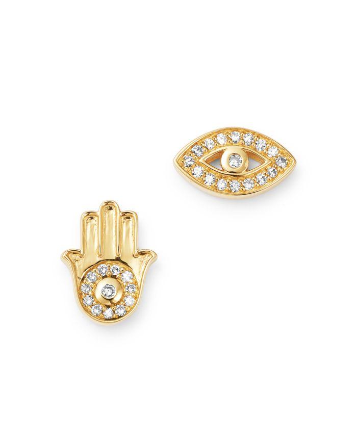 Bloomingdale's Diamond Accent Evil Eye & Hamsa Stud Earrings in 14K Yellow Gold, 0.10 ct. t.w. - 100% Exclusive    Bloomingdale's