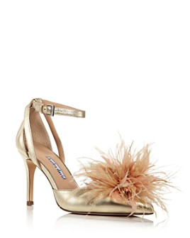 Charles David - Women's Violate Feather-Embellished d'Orsay Pumps