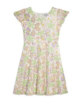 US Angels - Girls' Flutter Sleeve Floral-Embroidered Lace Dress - Big Kid