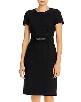 PAULE KA - Leather Tie Detail Twill Dress