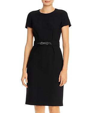 Paule Ka Leather Tie Detail Twill Dress