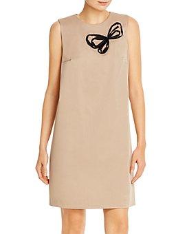 PAULE KA - Sleeveless Butterfly-Motif Shift Dress