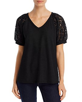 Kim & Cami - Lace-Sleeve Top