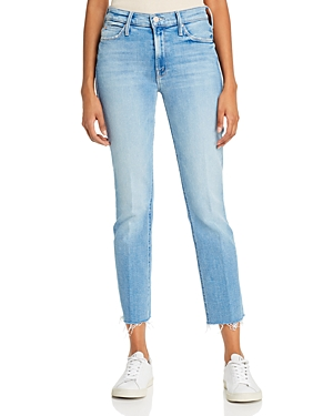 Mother Dazzler Ankle Fray Straight-Leg Jeans in Dropping In