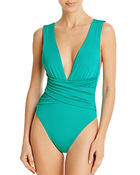 Trina Turk - Solid Wrap Front One Piece Swimsuit