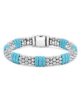 LAGOS - Sterling Silver Caviar Blue Ceramic Signature Bracelet