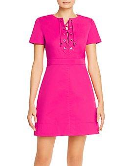 PAULE KA - Cotton-Stretch Lace-Up Mini Dress