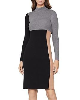 BCBGMAXAZRIA - Color-Block Sweater Dress