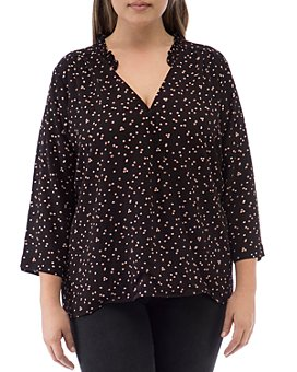 B Collection by Bobeau Curvy - Printed V-Neck Top