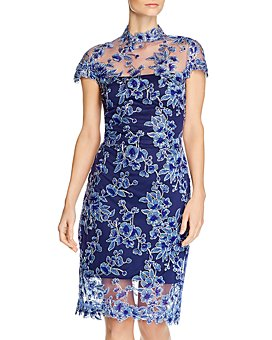 Tadashi Shoji - Floral-Embroidered Illusion Dress