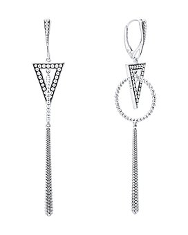 LAGOS - Sterling Silver Signature Caviar Triangle Circle Drop Earrings