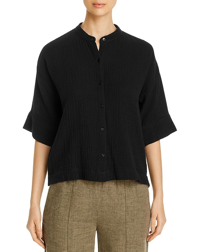 Eileen Fisher Petites - Cotton Mandarin-Collar Shirt