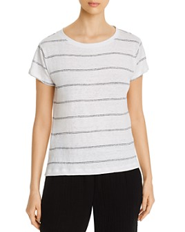 Eileen Fisher Petites - Organic Linen Striped T-Shirt