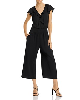 Parker - Sleeveless Ruffle-Neck Cropped Jumpsuit