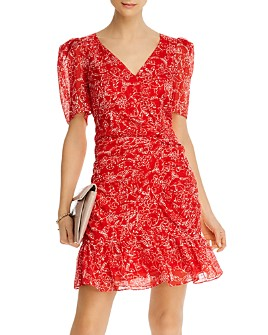 Parker - Krislyn Silk Printed Ruched Mini Dress