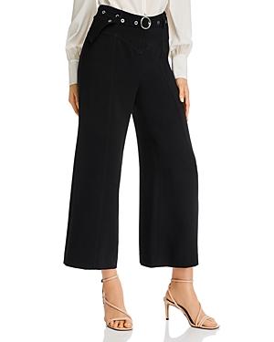 Cinq a Sept Grommet-Belt Wide-Leg Cropped Pants-Women