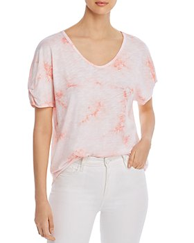 Cupio - Printed Ruched-Sleeve T-Shirt