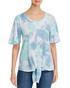 Cupio - Tie-Dyed Tie-Front T-Shirt