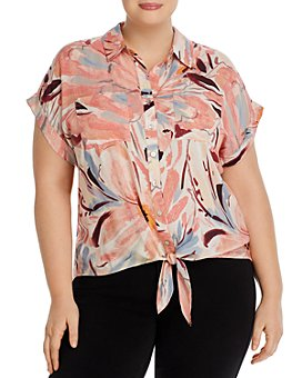 Cupio Plus - Plus Tie-Front Button-Up Shirt