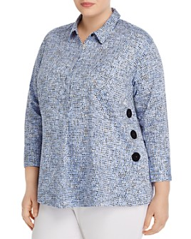 NIC and ZOE Plus - Printed Side-Button Shirt