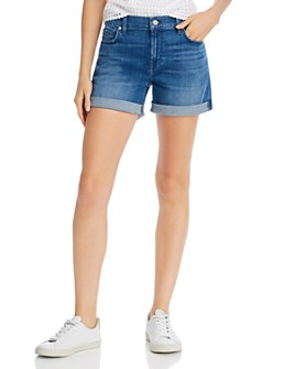 7 For All Mankind - High-Rise Rolled Denim Shorts in Shoreline