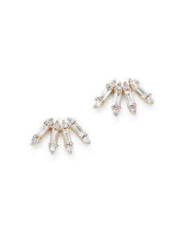 Adina Reyter - Diamond Curved Stick Stud Earrings in 14K Gold, 0.2 ct. t.w.