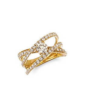 Bloomingdale's - Champagne Diamond Solitaire Crossover Band in 14K Yellow Gold, 1.54 ct. t.w. - 100% Exclusive