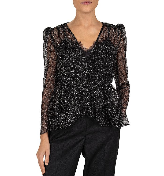 The Kooples GLITTER FLOWERS SHEER PEPLUM TOP