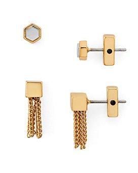 ALLSAINTS - Hexagon & Chain Mini Tassel Stud Earrings, Set of 2