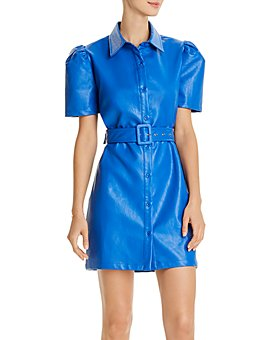 AQUA - Faux Leather Belted Mini Dress - 100% Exclusive