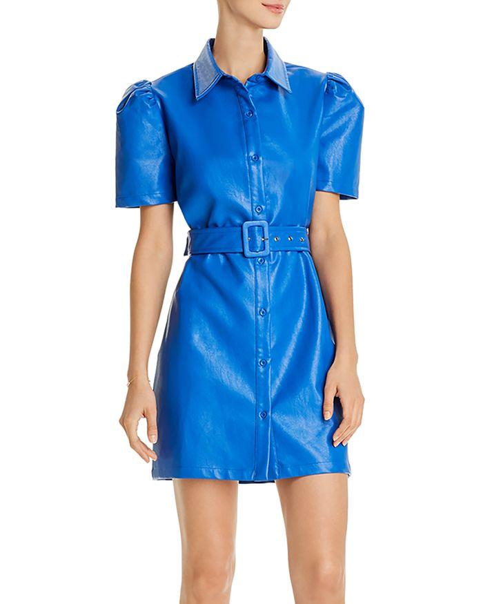 AQUA - Faux Leather Belted Mini Dress - 100% Exclusive